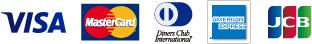 VISA・Mastercard・Diners Club・AMERICAN EXPRESS・JCB